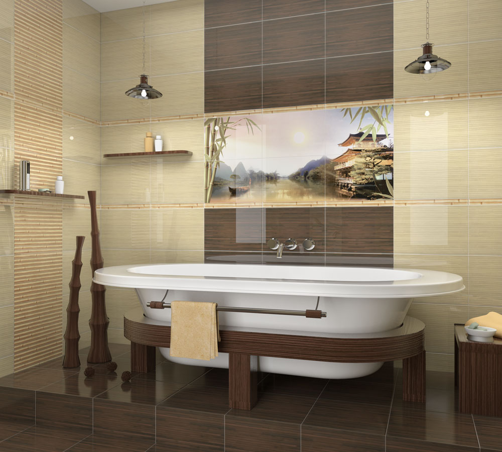 Ceramic tile bathtub